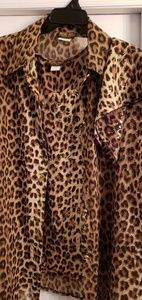 3 piece leopard print shirt, tank and pocket scarf